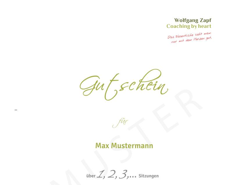 Geschenk-Gutschein Coaching mit Wolfgang Zapf